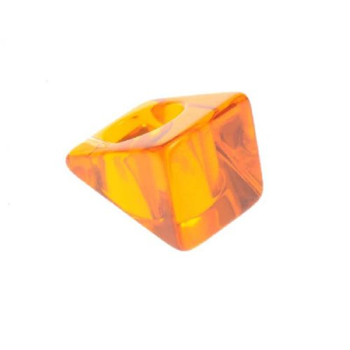 Jackie Brazil Large Square Ring in Transparent Orange